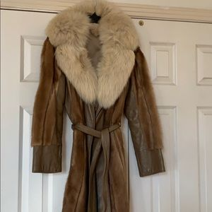 Mink and leather long coat like new small med